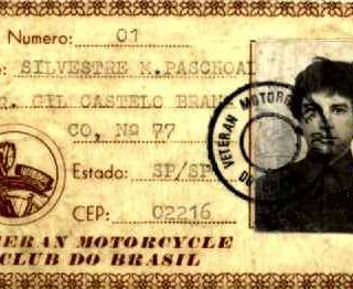 Carteirinha de sócio número 1 da Veteran Motorcycle Club do Brasil
